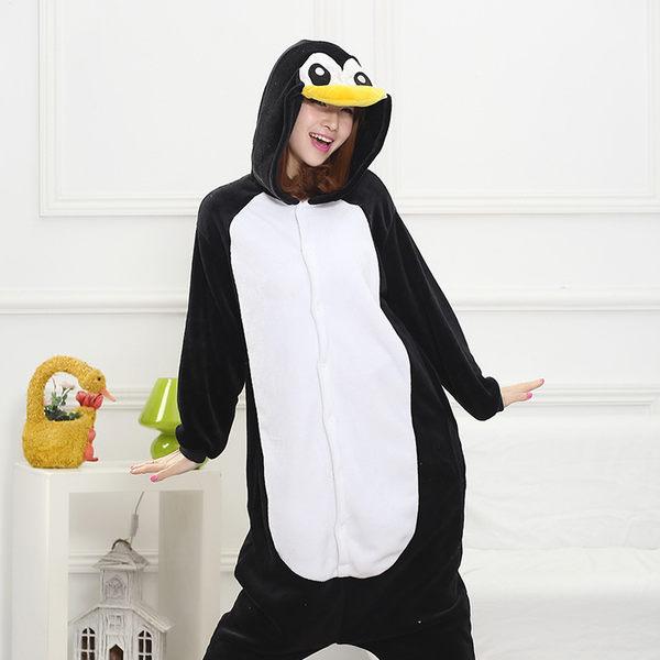 法蘭絨可愛企鵝連體睡衣【時尚家居館】