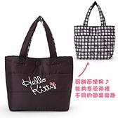 Sanrio HELLO KITTY鋪棉空氣包雙面提袋(格紋)★funbox★_249343N