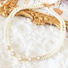 奢華珍珠水鑽花朵項鍊~L006