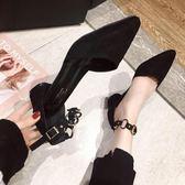羅馬涼鞋女包頭百搭學生仙女風粗跟尖頭一字扣高跟鞋 名購居家