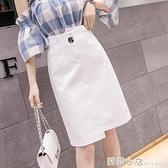 半身裙子女夏裝2021新款女牛仔裙一步裙新款半裙高腰白色包臀裙潮 蘇菲小店