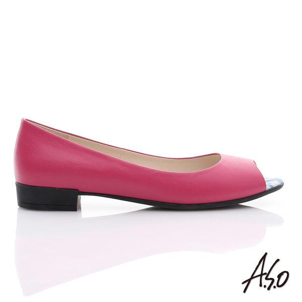 A.S.O 玩美涼夏 全真皮素面低跟魚口鞋  桃粉紅