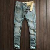 新品淺藍色水洗做舊小直筒男士破洞牛仔褲潮男褲子乞丐褲