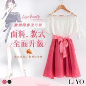 鏤空蕾絲拼接蝴蝶結顯瘦真絲薄紗裙襬優雅洋裝-日本進口材質LIYO理優O826005