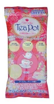 【福利品】PURE SMILE Tea Pot 格雷伯爵茶香爽身粉濕巾 隨身包(10抽)