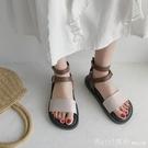 涼鞋 一字帶扣涼鞋女ins潮厚底平底鞋夏2021年新款仙女風百搭學生黑色 618購物節