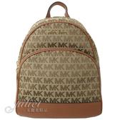 茱麗葉精品【全新現貨】 MICHAEL KORS ABBEY 滿版LOGO織布皮飾邊雙肩後背包.棕