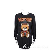 MOSCHINO 馬戲團泰迪熊黑色棉質長版針織衫 1920577-01