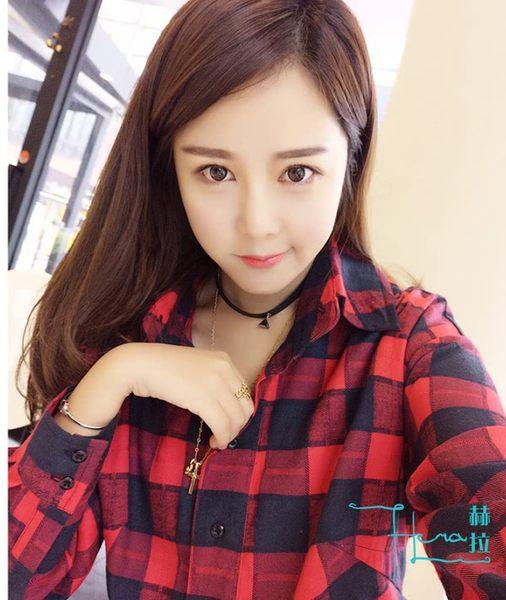【Hera 赫拉】 慵懶風經典格子長款襯衫/洋裝(紅色)