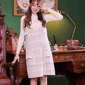 洋裝 V領格紋背心兩件式長袖洋裝-Ruby s 露比午茶