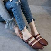 牛皮涼鞋女 手工復古拖鞋 一字扣涼鞋/2色-標準碼-夢想家-0416