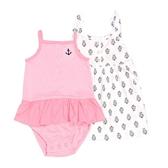 Carter s卡特 細肩帶無袖洋裝+裙擺兔裝 三件組 粉橫條 | 女寶寶套裝(嬰幼兒/兒童/小孩)