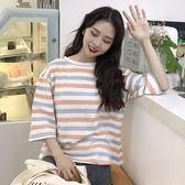 夏裝新款女裝正韓學生寬鬆拼色粗條紋圓領T恤七分袖百搭休閒上衣三角衣櫥