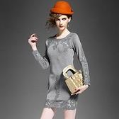 洋裝-蕾絲歐美高端修身包臀長袖連身裙2色72f2[巴黎精品]