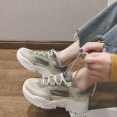 增高鞋 老爹鞋女冬新款學生加絨糕鞋厚底跑步運動鞋增高百搭秋【88折免運】
