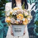 美式套裝干花鐵藝裝飾花仿真花客廳裝飾品餐桌插花假花小盆栽擺件 快速出貨
