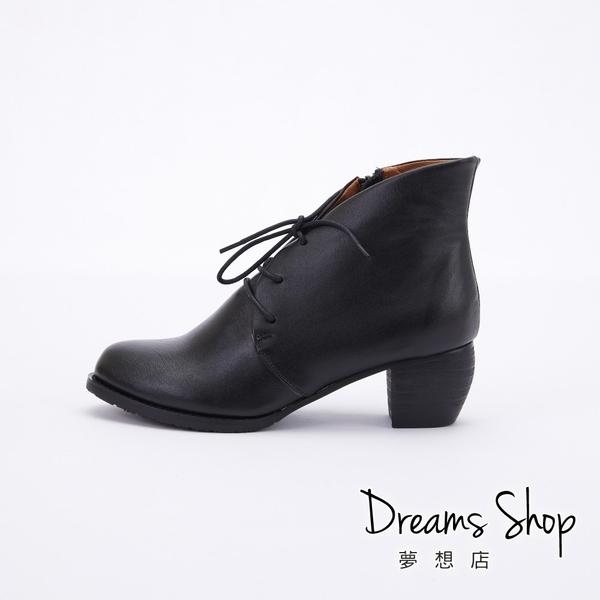 大尺碼女鞋-夢想店-MIT台灣製造全真皮側拉鍊綁帶中跟踝靴5cm(41-47)【JD3033】黑色