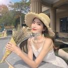 沙灘帽 小清新草帽女日系百搭蕾絲綁帶蝴蝶結帽子女夏出游大檐沙灘太陽帽