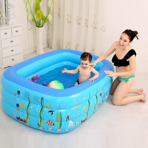 充氣泳池 加厚小孩家用充氣游泳池兒童童洗澡家庭寶寶成人方形水池【快速出貨八折下殺】