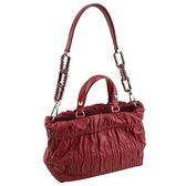 【奢華時尚】DIOR 玫瑰紅色皺褶牛皮金鍊肩背托特包(九成新)#24055