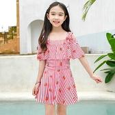 兒童泳衣女童中大童連體裙式女孩3-8-12-15歲學生少女游泳衣套裝 快速出貨