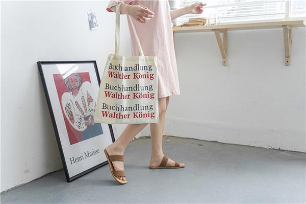 帆布袋 雙面 字母 帆布袋 單肩包 手提袋 環保購物袋--手提/單肩【SPE84】 BOBI  07/19