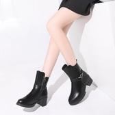 中筒靴 女士短靴女新款冬潮平底中筒粗跟馬丁靴 喵可可