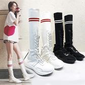 襪子鞋超火高筒鞋休閒長筒襪子靴女學院風秋季運動鞋平底女鞋 【新品熱賣】