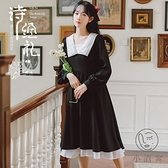 復古法式小黑裙收腰長袖連身裙收腰氣質顯瘦秋季【小酒窩服飾】