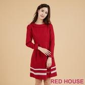【RED HOUSE 蕾赫斯】復古翻領毛料洋裝(共2色)