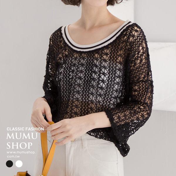 MUMU【T70120】一字領/圓領兩穿編織縷空上衣。兩色