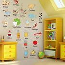 DIY時尚裝飾組合可移動壁貼 牆貼 壁貼 創意壁貼 卡通食物英文單字AM7090【YV0625】BO雜貨