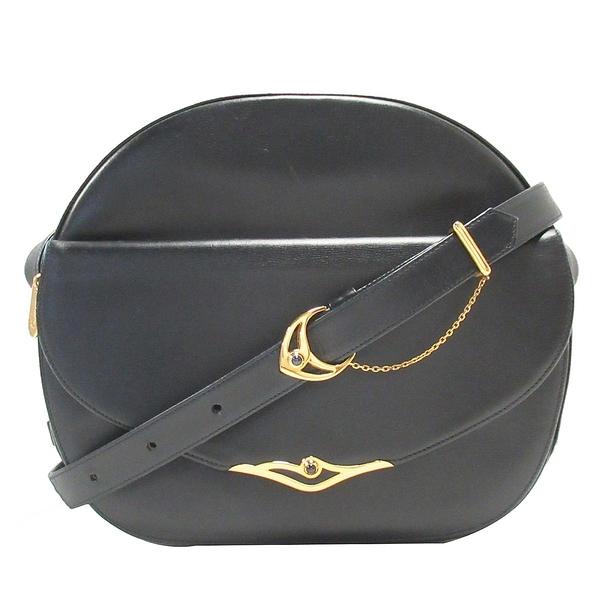 Cartier 卡地亞 藍黑色牛皮金釦斜背包 Sapphire Shoulder Bag【二手名牌BRAND OFF】
