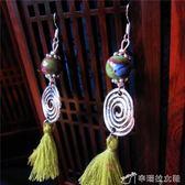 7535#民族風流蘇耳環女超仙 短款百搭氣質藏銀耳墜文藝復古風飾品 辛瑞拉