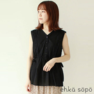 「Summer」花邊蕾絲緞帶束腰排釦無袖上衣 (提醒 SM2僅單一尺寸) - Sm2