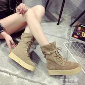 磨砂馬丁靴女秋冬季厚底鬆糕短靴復古前繫帶平底單靴中筒椰子靴子 可可鞋櫃