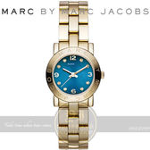 MARC BY MARC JACOBS國際精品AMY潮流時尚腕錶-金/藍26mm MBM3304公司貨【億錶行】