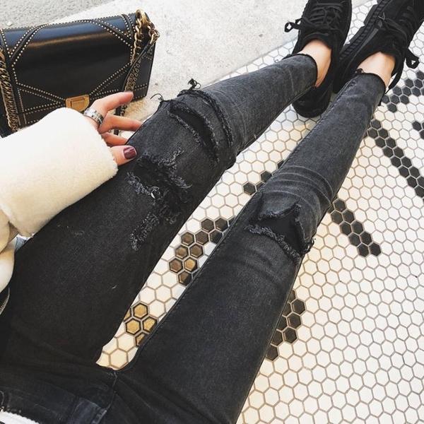 黑色乞丐破洞鉛筆褲女2021年大碼歐貨彈力高腰牛仔褲九分小腳褲潮 韓國時尚週 免運