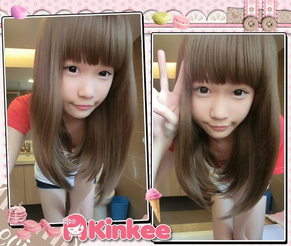 *╮Kinkee假髮╭*若瑩示範 超級可愛犯規款 新手必備 微彎耐熱中長髮 現+預【K0079】