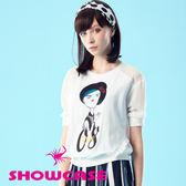 【SHOWCASE】棉麻感不屑女孩拼接荷葉邊上衣(白)