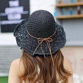大沿手工鉤針帽子 沙灘戶外遮陽帽蝴蝶結草帽m6