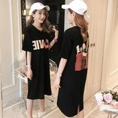 【免運】韓版連衣裙2019新款女裝春夏寬鬆中長款短袖T恤裙黑色顯瘦大碼裙