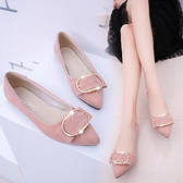 2021新款平底鞋女韓版百搭尖頭水鑚方扣黑色單鞋女大碼平底瓢鞋