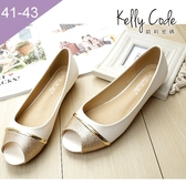 大尺碼女鞋-凱莉密碼-夏季時尚金蔥撞色好穿平底魚口涼鞋1cm(41-43)【EL777-U5】白色