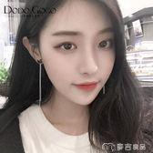 個性黑天鵝流蘇耳環女韓國氣質長款耳飾簡約耳夾百搭耳墜純銀耳釘     麥吉良品