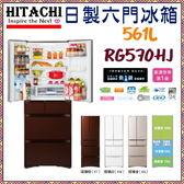 【日立HITACHI】日本冰箱 六門 561L 琉璃三色《RG570HJ》全新原廠保固