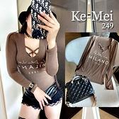 克妹Ke-Mei【AT65440】MILANO辛辣交叉美胸棉質長袖低胸上衣