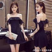 洋裝 新款主播服裝繫袋袖平肩抹胸裙性感夜店女裝一字領洋裝  艾美時尚衣櫥