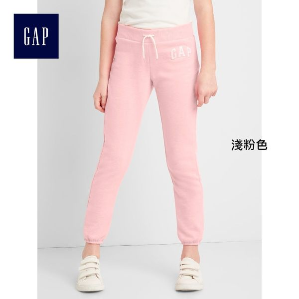 Gap女童 logo刷毛中腰兒童運動褲 柔軟彈力長褲褲子 900897-淺粉色