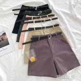 純色休閒五分褲女2020春夏季新款韓版學生簡約高腰直筒褲潮配腰帶  韓語空間